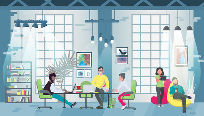 Coworking office concept design for web banners, infographics. Multicultural team works together in coworking place. Concept of the coworking center. Vector flat style illustration.