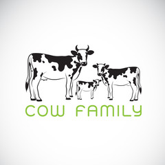Vector of cows family on white background. Farm. Animal. Easy editable layered vector illustration.