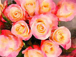 Watercolor Painting of a Bunch Of Roses