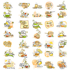 Healthy and Nutritious Tea label tag sticker for Advertisement