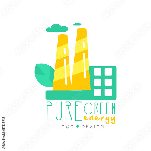creative logo original design template with eco factory clouds and