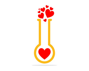 red heart love chemical chemist erlenmeyer flask scientist image vector