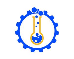 blue gear chemical chemist erlenmeyer flask scientist image vector