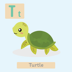 Cute animal alphabet. T letter. Cute Turtle