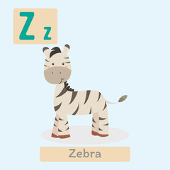 Cute animal alphabet. Z letter. Cute Zebra.