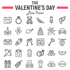 Happy Valentines Day line icon set, holiday symbols collection, vector sketches, logo illustrations, wedding signs linear pictograms package isolated on white background, eps 10.