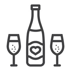 Bottle of champagne with glasses line icon, valentines day and romantic, alcohol sign vector graphics, a linear pattern on a white background, eps 10.