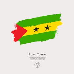 Flag of Sao Tome in Grunge Brush Stroke : Vector Illustration