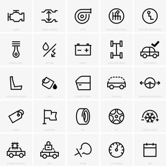 Set of  twenty five car feature icons