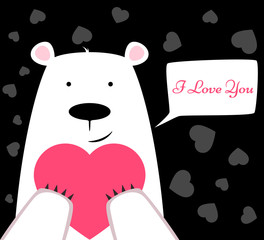 Funny cute polar bear with heart. Valentine s Day