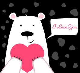 Funny cute polar bear with heart. Valentine s Day