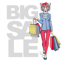 Retro Hipster animal girl tiger. Big sale hipster poster with woman model