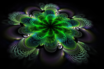 Abstract exotic flower with green textured petals. Fantasy fractal composition. Psychedelic digital art. 3D rendering.