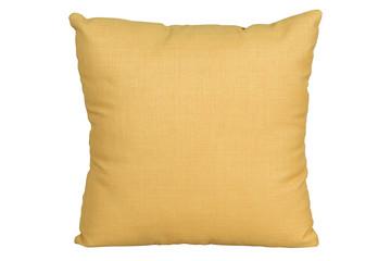 yellow cushion on white background, isolated