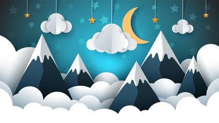 Mountain landscape paper illustration. Cloud, star, moon, sky.