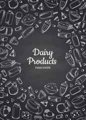 Vector vertical illustration of dairy products