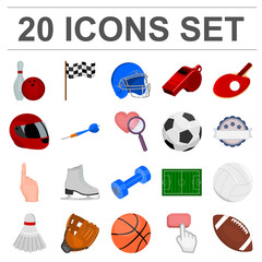 Different kinds of sports cartoon icons in set collection for design. Sport equipment vector symbol stock web illustration.