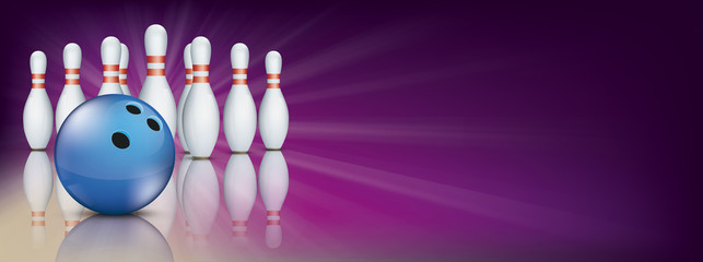 Purple Bowling Pin Deck Banner Blue Ball Pins