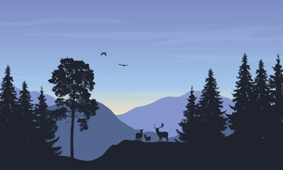 Realistic vector illustration of landscape with forest anddeer