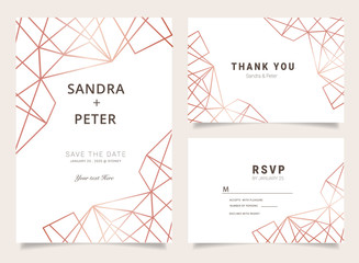 Wall Mural - Marble Wedding Invitations set ,Thank you card, RSVP card,Place Cards, Business card, Brand identity, Stationary with marble vector cover.