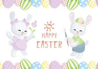 Easter greeting card with the image of lovely rabbits and painted eggs. Vector illustration.
