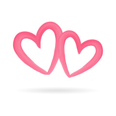 Hearts love vector. Hand drawn brush watercolor pink isolated hearts on white background. Vector romantic abstract illustration for valentine's day. Set decorative sketched icon for design, greeting c