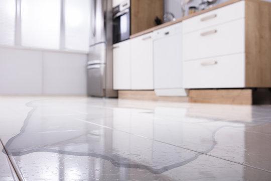 Spilled Water On Kitchen Floor