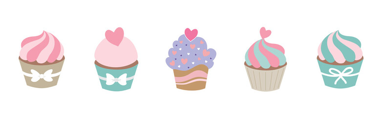 Colorful cute bake shop cupcakes vector illustration