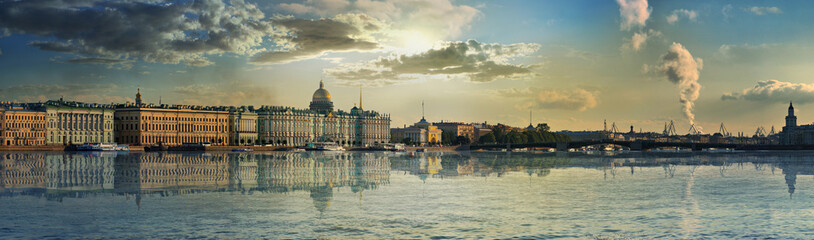 Panorama of the Palace embankment and the bridge in Saint-Petersburg