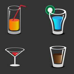 Drinks and glasses set template