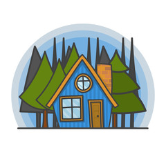 Cartoon scene with house in the forest illustration. Doodle vector, hand drawn building.