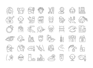 Vector graphic set. Icons in flat, contour, thin, minimal and linear design. Beauty. Attributes of beauty for men and women. Concept illustration for Web site. Sign, symbol, element. Wall mural