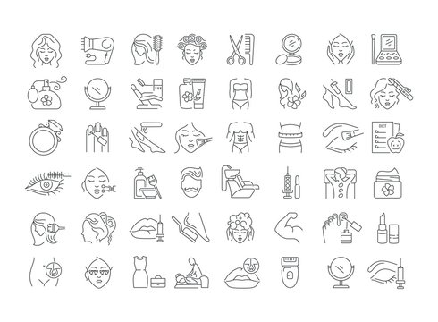 Vector graphic set. Icons in flat, contour, thin, minimal and linear design. Beauty. Attributes of beauty for men and women. Concept illustration for Web site. Sign, symbol, element.