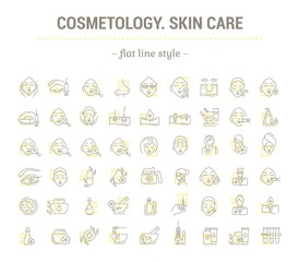 Vector graphic set. Icons in flat, contour, thin, minimal, and linear design. Cosmetology. Skin care. Simple isolated icons. Concept illustration for Web site and app. Sign, symbol, element.