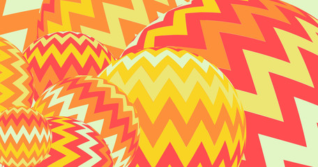 zigzag balloons banner in orange and yellow shades