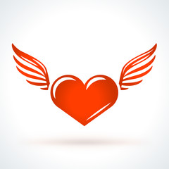 Red heart with wings. St. Valentines Day vector design element. Love, wedding or dating romantic decorative symbol