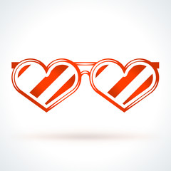 Heart shaped sunglasses. St. Valentines Day vector design element. Love, wedding or dating romantic decorative symbol