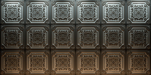 Vintage decorative tiles for walls and ceilings. Elizabethan Shield Tin. 3D rendering.