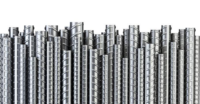 Reinforcements steel bars in row. Industrial background. Building armature.