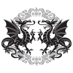Two winged heraldic dragon and Victorian pattern