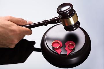 Judge Striking Gavel On Sounding Block