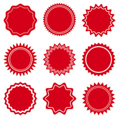 Set of round red labels for Valentine's Day. Vector illustration