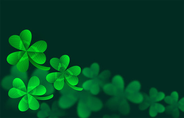 Vector st Patrick's day template with close up clover leaves and blur bokeh on background