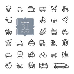 Transport, vehicle and delivery elements - minimal thin line web icon set. Outline icons collection. Simple vector illustration.