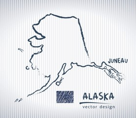 Alaska national vector drawing map on white background