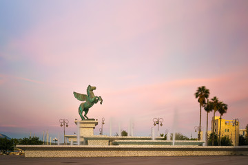 Big statue of Pegasus in the central square of Corinth in Greece.