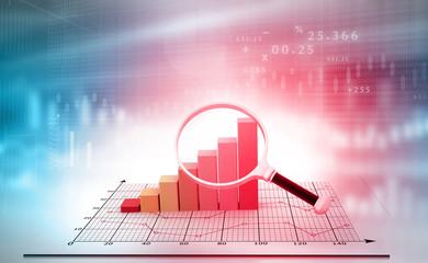 Magnifier focuses financial growth chart. 3d illustration.