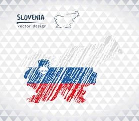 Map of Slovenia with hand drawn sketch map inside. Vector illustration