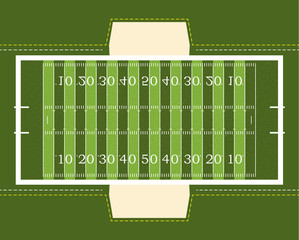 American football field with bench. Vector illustration. Textured Grass American Football Field.