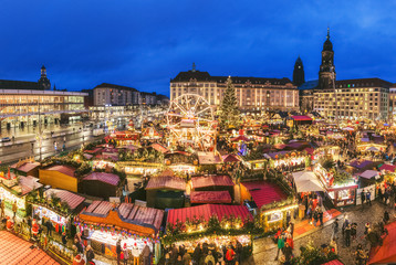 Germany. Dresden Christmas market. Night scenery.